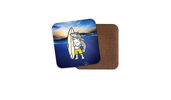 Tiburón Surf Tabla de surf Surfer corcho Bebidas Posavasos para té y café # 4062, madera, 3 Coaster: Amazon.es: Hogar