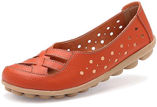 Fangsto Kvinners Skinn Loafers Flats Sandaler Slip-on Orange