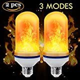 CPPSLEE LED Flame Effect Light Bulb - E26 Standard Base - Atmosphere Decoration Fire Flickering Simulation 105 pcs 2835 LED Beads -Flame Bulb for Home Decoration(2 Pack)