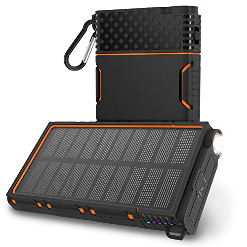 (OUTXE Solar Power Bank 10000mAh Rugged Solar Charger Waterproof with Led Flashlight (Orange))