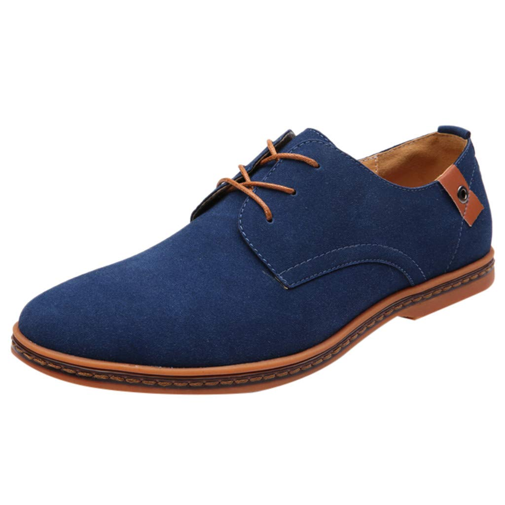 〓COOlCCI〓Men's Classic Suede Leather Oxford Dress Shoes Business Casual Shoes Lace Up Loafers & Slip-Ons Oxfords Shoes Blue by COOlCCI_Men Shoes