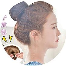 Baotou wig hair female flower etiquette pan head hair bud Korea lazy gripper nine meatball appetizers hair flower for women girl lady