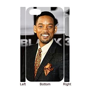 3D Bloomingbluerose Will Smith IPhone 4/4s Cases Will Smith Hollywood's Highest Paid Black Male Actor Unique For Guys, Iphone 4s Cases For Girls Cheap Unique For Guys [White]