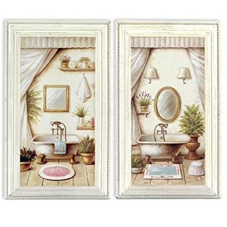 2 Quadri VASCA DA BAGNO, 36x21 cm: Amazon.it: Casa e cucina