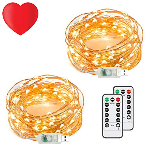 2 Pack 50 LED 16.4Ft Fairy String Lights, Warm White Firefly USB Plug-in Starry Lights with Remote, Waterproof Copper Wire Decorative String Lights for Valentine's Day, Bedroom, Home & -