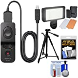 Sony RM-VPR1 Remote Control with Multi-terminal Cable with LED Video Light + Tripod + Kit