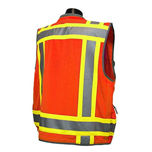 Radians Reflective Vest Class 2 Heavy Woven Two Tone Engineer Hi Viz Orange Safety Vest 3M 8712 Tape (3X-Large, Orange) by Vero1992 (Image #2)