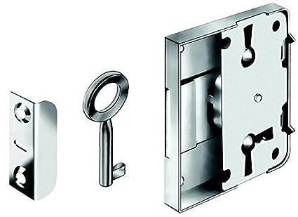GedoTec Cerradura de mueble Caja de cierre Cerradura atornillable SET para Cajones & Gabinetes de Acero