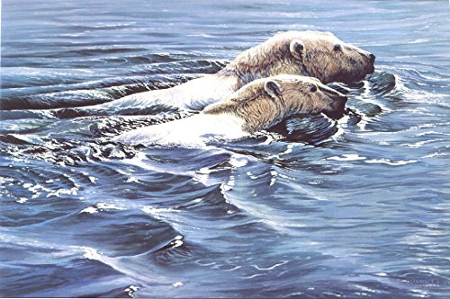 - Polar Bears Swimming Art Print Artist Proof from original painting by Lawrence Dyer Wildlife Art Print 24