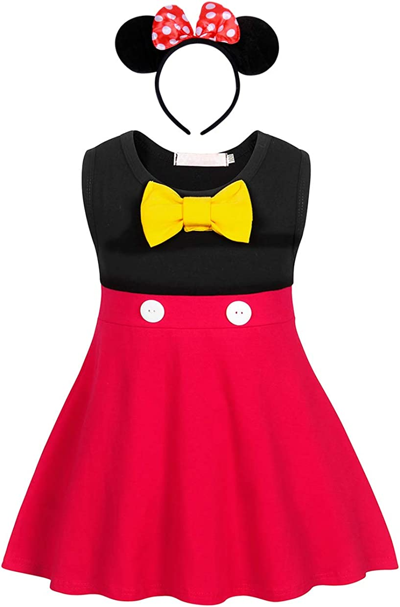 AmzBarley Baby Girls Polka Dot Dress Kids Fancy Party Dressing up Costume Child Birthday Dresses Outfit Halloween Cosplay Mouse Ears Headband