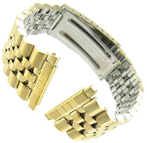 16-22mm Kreisler Rolex Type Center Clasp Metal Watch Band Gold Tone (Gold Tone Metal Watch)
