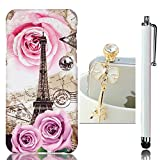 "Sunroyal Ultra thin Luxury Fashion Premium Relief Hard PC [Embossing Eiffel Tower Rose Pattern] Protective Anti-slip Plastic Case For Asus ZenFone 2 Laser ZE500KL 5"" Gold Crystal Dustproof Pendant Touch Pen"