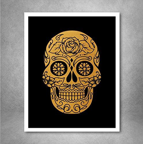 Gold Foil Art Print - Sugar Skull With Black Background Gold Foil Design 8x10 ()