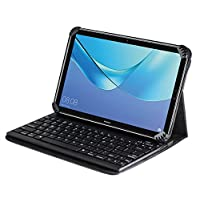 Navitech Folding Leather Folio Case Cover & Stand With Removable Bluetooth Keyboard For The Samsung Galaxy Tab A SM-T350 8-Inch Tablet