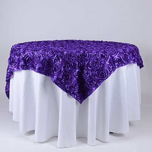 BBCrafts 72 Inch x 72 Inch Square Rosette Satin Tablecloths Overlay -