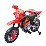 Aosom 6V Electric Kids Ride-On Motorcycle Powered Dirt Bike Battery Scooter w/ Training Wheels Red