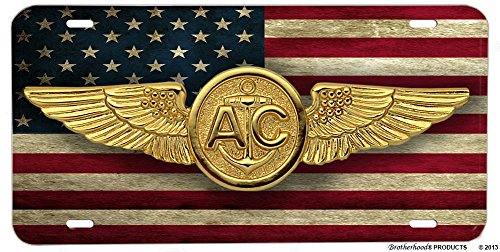 Brotherhood Distressed American Flag US Navy Air Crew Emblem License -