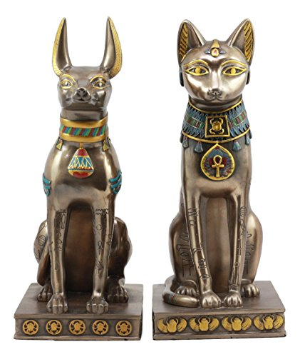 Ebros Egyptian Goddess Bastet and Anubis Sitting On Pedestal Statue Set of 2 Ancient Egyptian Deity Figurines