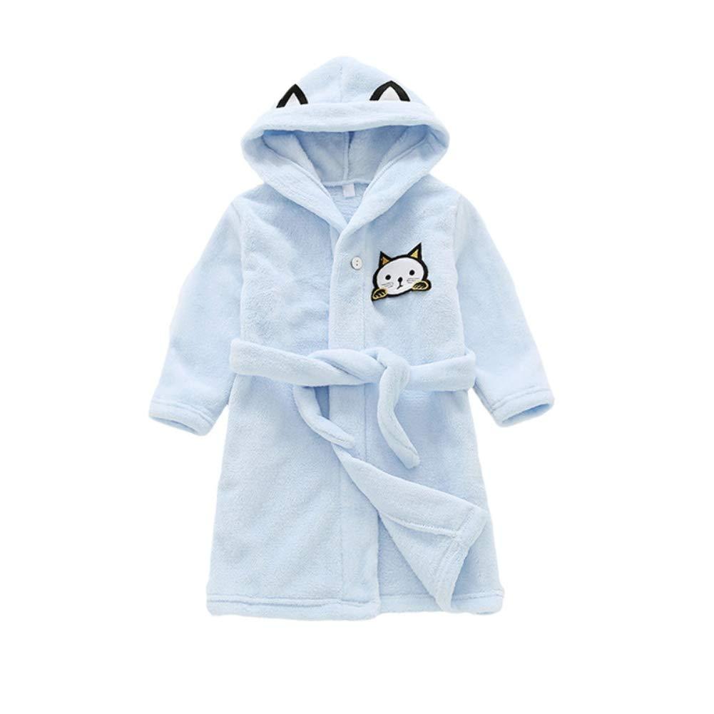 BAOBAOLAI Kids Robe Boys Girls Flannel Bathrobes Hoodie Children Pajamas Sleepwear Fit for 3-9 Years