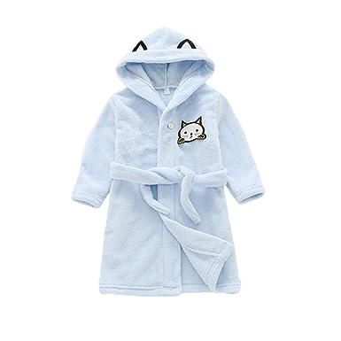 9f8fcdcd7b7cb Miyanuby Peignoir Enfant Garçon/Fille Mignon Doux Chaud Toison Peignoir en  Coton Capuche Pyjamas pour 3-8 Ans: Amazon.fr: Vêtements et accessoires