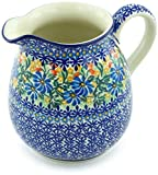 Polish Pottery 6 Cup Pitcher made by Ceramika Artystyczna (Happy Daisy Theme) Signature UNIKAT + Certificate of Authenticity