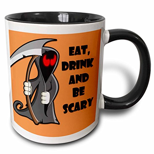 3dRose RinaPiro - Halloween Quotes - Eat, drink and be scary. Halloween funny quotes. Popular saying. - 15oz Two-Tone Black Mug (mug_218445_9)]()