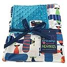 Baby Boys Reversible Minky Velboa Stroller Blanket, Airplane / Turquoise