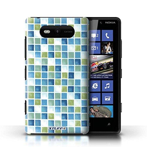 Etui / Coque pour Nokia Lumia 820 / Bleu/Vert conception / Collection de Carreau Bain