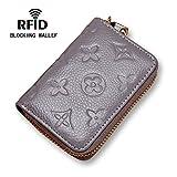 Women RFID Blocking Credit Card Holder Wallet Leather Slim Zipper Purse - Gray