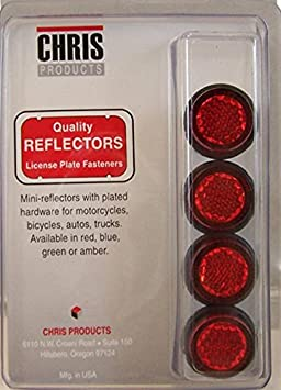 Chris Products CH4G Green Motorcycle Mini License Plate Reflector, 4 Pack