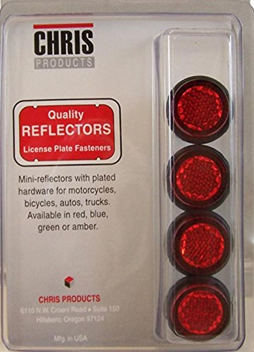 Reflector Plate (Chris Products CH4R Red Motorcycle Mini License Plate Reflector, 4 Pack)