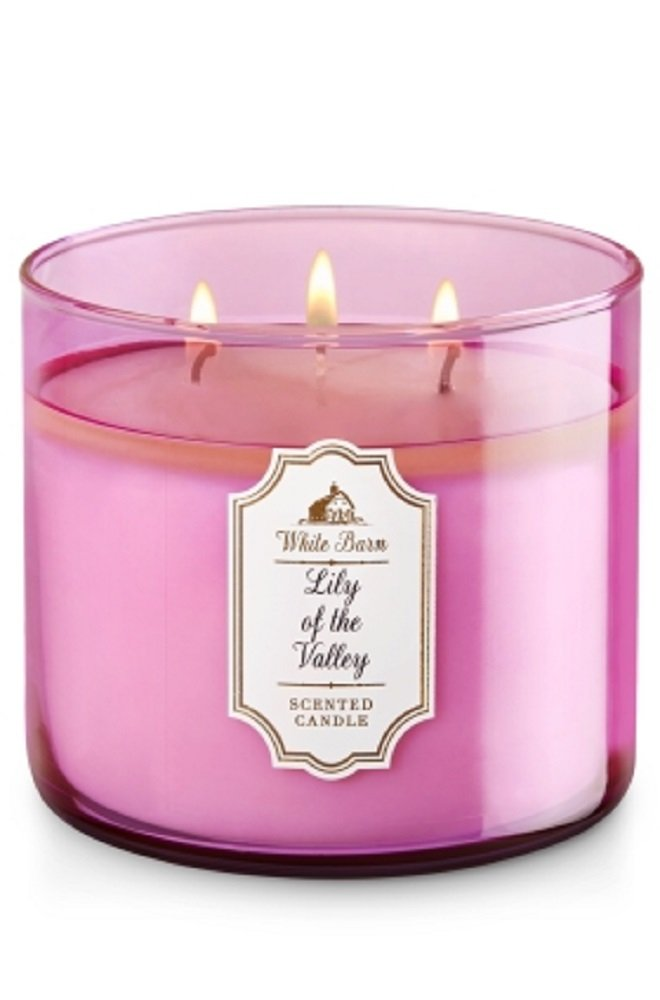 Bath & Body Works White Barn Candle 3 Wick 14.5 Ounce Lily Of The Valley