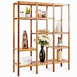 COSTWAY Multifunctional Bamboo Shelf Bathroom Rack Storage Organizer Rack Plant Display Stand W/Several Cell Closet Storage Cabinet (5-Tier)