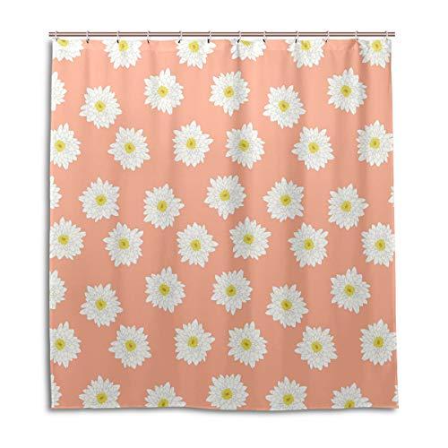 Amanda Billy Peach Blossom Hilfiger Natural Home Shower Curtain, Beaded Ring, Shower Curtain 72 x 72 Inches, Modern Decorative Waterproof Bathroom Curtains