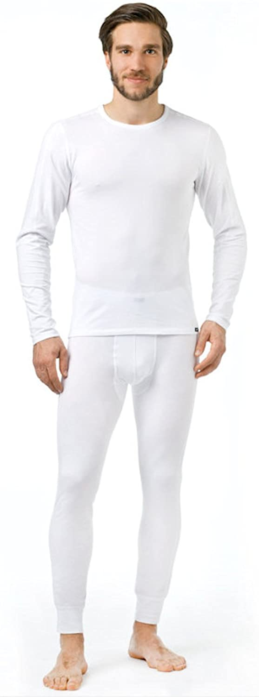 Thermo Unterwäsche Set für Herren lang - Herren Dryarn Thermo Funktionswäsche Skiunterwäsche Set (Shirt lang + Hose lang) weiss