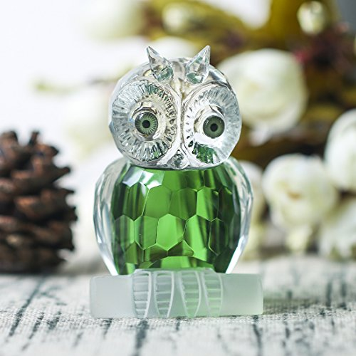H&D Green Crystal Owl Figurine Collection Paperweight Table Centerpiece Ornament (2.7-Inch)]()
