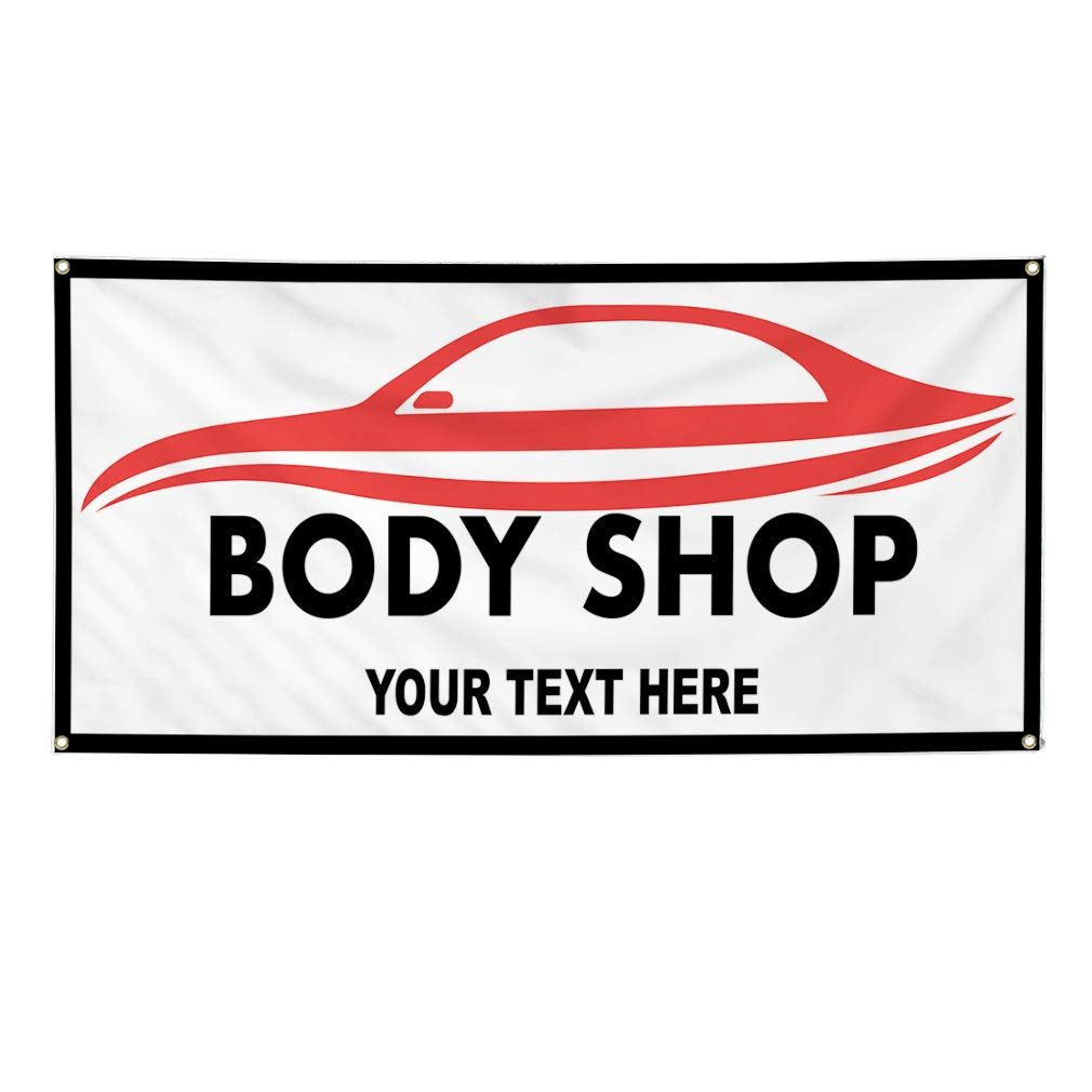 Custom Industrial Vinyl Banner Multiple Sizes Body Shop Style C Personalized Text Here Automotive Outdoor Weatherproof Yard Signs Red 8 Grommets 44x110Inches