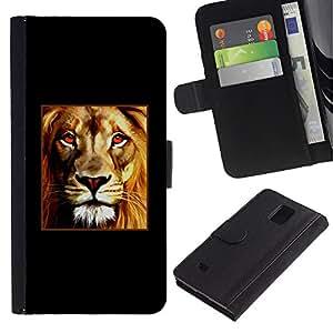 iKiki Tech / Cartera Funda Carcasa - Lion Poster Fire Red Minimalist Black - Samsung Galaxy Note 4 SM-N910