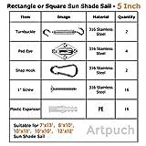 Artpuch Sun Shade Sail Hardware Kit for Rectangle