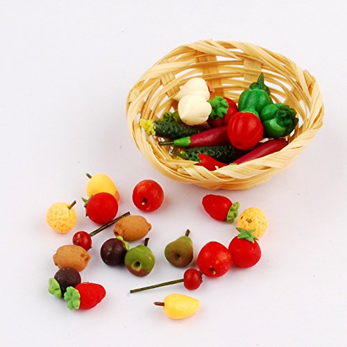 NW 30pcs 1/12 Mini Fruits and Vegitable Dollhouse Decoration Play Food Set with Basket for Dollhouse Kitchen Decoration Dollhouse Miniatures Miniature Fruit