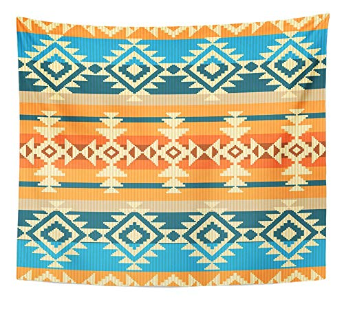 Emvency Tapestry Wall Hanging Ethnic Navajo Style Geometric Mexico Peruvian Mexican Traditional Tribe American 50