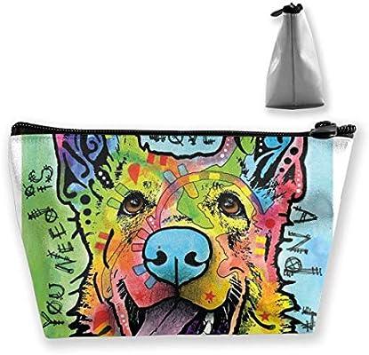 Bolsa de viaje de almacenamiento trapezoidal de perro pastor alemán Bolsa de cosméticos Estuche para lápices: Amazon.es: Belleza