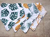 "Stadela Baby Bandana Bib Set, 4-Pack Cotton Drool a Bibs, Baby Shower Gift for Boys and Girls ""Palm Springs"" Summer Beach Surf Surfing Hawaiian Theme with Pineapples Palm Leaves and Trees"