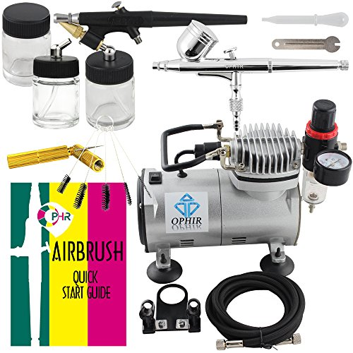 OPHIR 2PCS Airbrush Kits 110V PRO Air Compressor & Cleani...