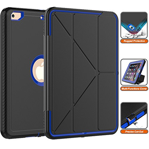 iPad 9.7'' 2018 Case- Heavy Duty Full-Body [Smart Case] with Trifold Stand and Auto Sleep/Wake Dual Layer Protective Defense Cover for Apple iPad 9.7'' 2018 & 2017 [Black+Blue] by SXTech