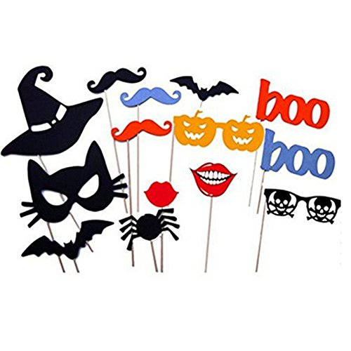 (Tinksky Funny Creative Photo Props on a Stick Mask Mustache Glasses Lips Spider Bat Photo Booth Posing Props for Halloween Birthday Party halloween horror nights 14-pack)