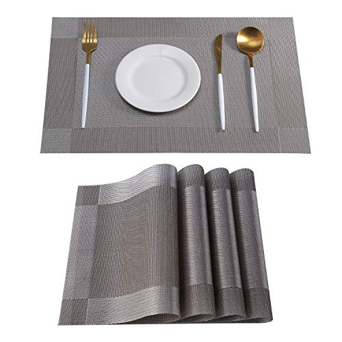 Placemats Set of 6 Woven Vinyl Table Mats PVC Heat Insulation Stain Resistant Non Slip Kitchen Dining Table Decoration