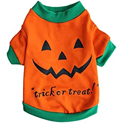 Scheppend Pet Puppy Halloween Party Pumpkin Costume Funny Dog Cat T-Shirts Apparel,XL
