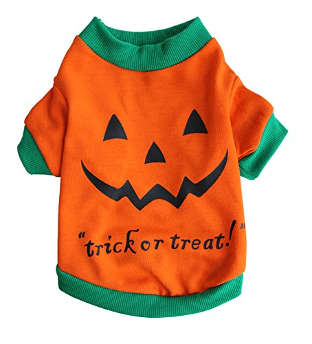 Scheppend Pet Puppy Halloween Party Pumpkin Costume Funny Dog Cat T-Shirts Apparel,XXL (Funny Halloween Pet Costumes)