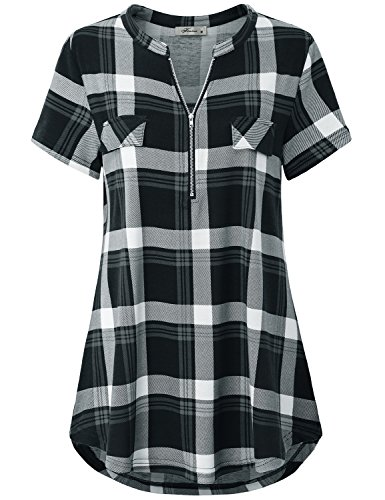 Finice Vintage Blouses, Women's Shirts Notched Collar Zip V Neck Short Sleeve Tunic Tops Versatile Retro Style Pleated Front Curved Hem Hipster Baggy Plaid Tshirt Black ()